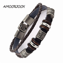 AMOURJOUX Handmade Retro Dark Genuine Leather Woven Charm Bracelet Men Vintage Beads Braided Bracelets Bangles Male Jewelry(China)