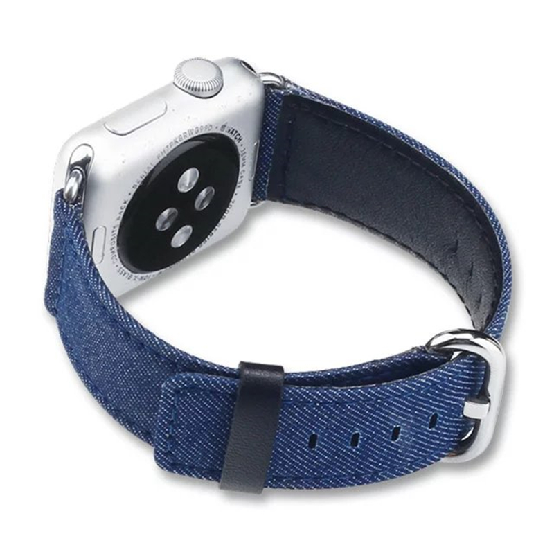 Fashion Blue Cowboy Canvas Leather Correas Bracelet Apple Watch Strap 42mm 38mm For Iwatch With Adpter Container Free Shipping<br><br>Aliexpress