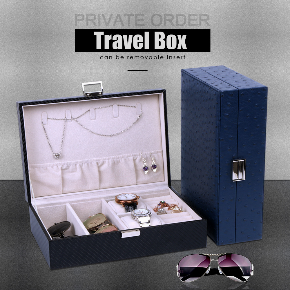 PU leather Watch box for watches Portable Travel case Watch packing box storage +Sunglasses and Ring box<br>