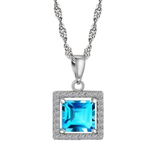Genuine Gem Pendant Solid 925 Sterling Silver  2ct 7*7mm Princess Cut Natural Sky Blue Topaz Clear CZ Crystal Christmas Gift