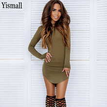 yismall Autumn women long sleeve slim T Shirt dress 2017 new Autumn Sexy Bandage Party dress mini bodycon Vestidos