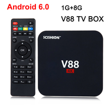 SCISHION V88 4K Android 6.0 Smart TV Box Rockchip 1G RAM 8G ROM Quad Core 4 USB WiFi Full Loaded 1.5GHZ HD Media Player