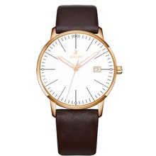 2015 New Arrival Men Women Luxury Brand Lovers EFFORT Watches  Simple Ultra Thin Brown Leather Band Quartz Watch Relojes Mujer