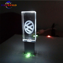 VW USB Stick 16GB Crystal Flash Drive 8GB Volkswagen Car Logo 32GB Flash Memory 2.0 Flash Disk with 3 LED Light