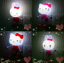 Decoration Suppl Hello Kitty Sensor US EU Plug  LED Photoreceptor Night Light Lamp Home Decor,KT cat Light Sensation Night Light
