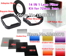 (14 IN 1) Camera Lens Filters Kit 72mm Adapter Ring LENS Hood ND2/4/8/16 Gradient Filters 10P Bag Free Shipping(China)