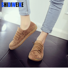 SHIDIWEIKE Spring Autumn Women Faux Suede Flat Shoes Woman Hand-sewn Suede Leather Flats Flexible Boat Shoes Women's Loafer z053