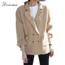 Blazer Cardigans Women Double Breasted Plus Size Turn Down Collar Sweater Warm Camel Pink Jacket Warm Outwear Winter 2017(China)