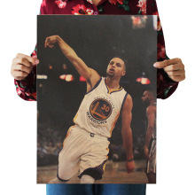 Bearoom Home Decoration Wall Stickers Retro Kraft Paper NBA Stephen Curry Poster for Boys Room Decal Shop Bar Cafe School Paint(China)