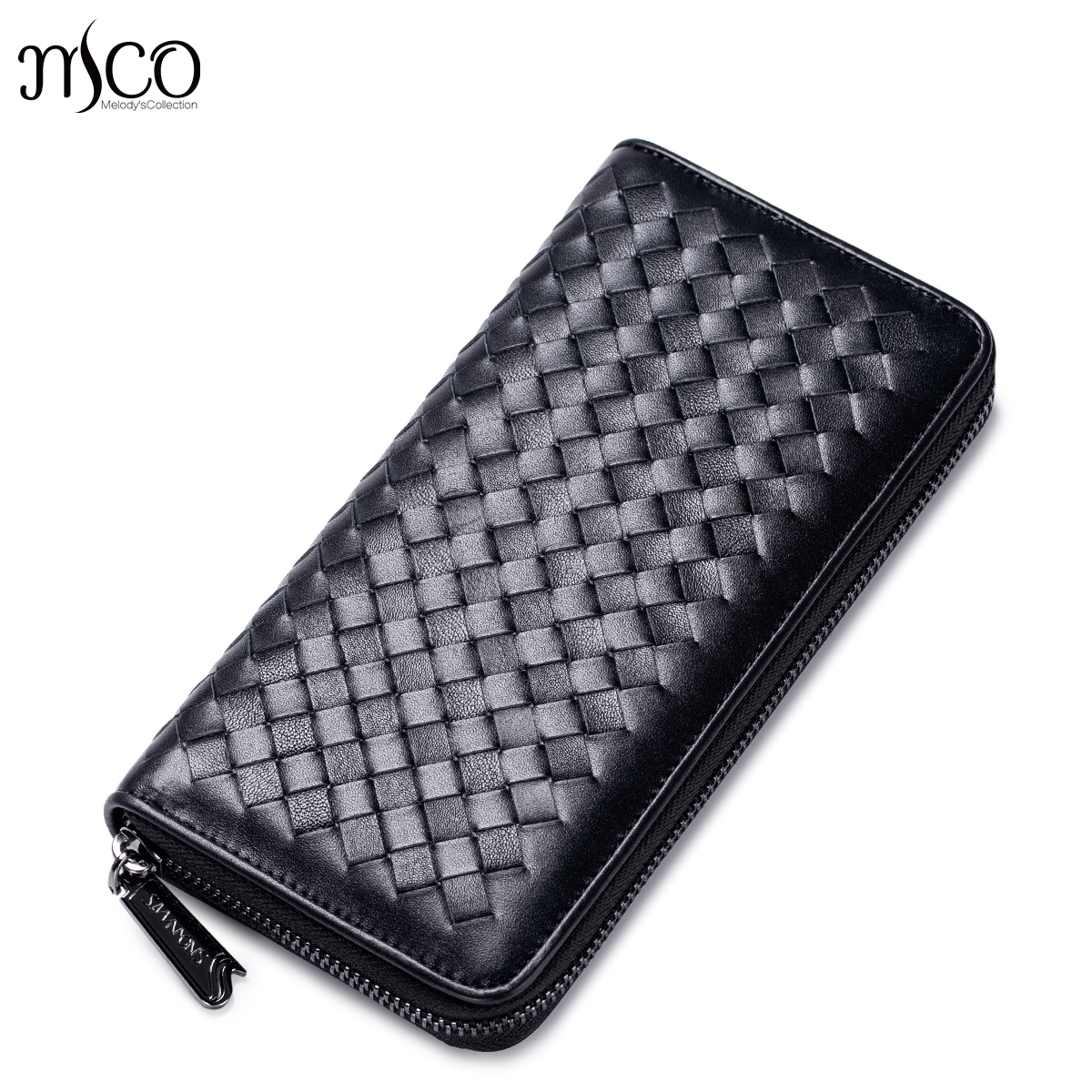 Men Genuine Leather Wallets Fashion Knitting Clutch Head Layer Cowhide Pure manual weaving long Zipper purse Male Money Clips<br>