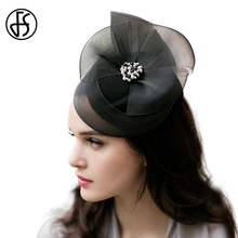 FS 2017 Vintage 100% Wool Beret Fascinator Cap Lady Elegant Winter Hat Black Gauze With Rhinestone Women Church Caps(China)
