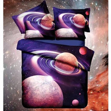 Hot 3d Galaxy bedding sets Twin/Queen Size Universe Outer Space Themed Bedspread 2/3/4pcs Bed Linen Bed Sheets Duvet Cover Set(China)