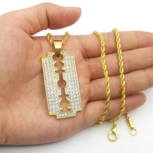 New HIP HOP blade pendants Mens Iced Out Rhinestone Necklace N824(China)