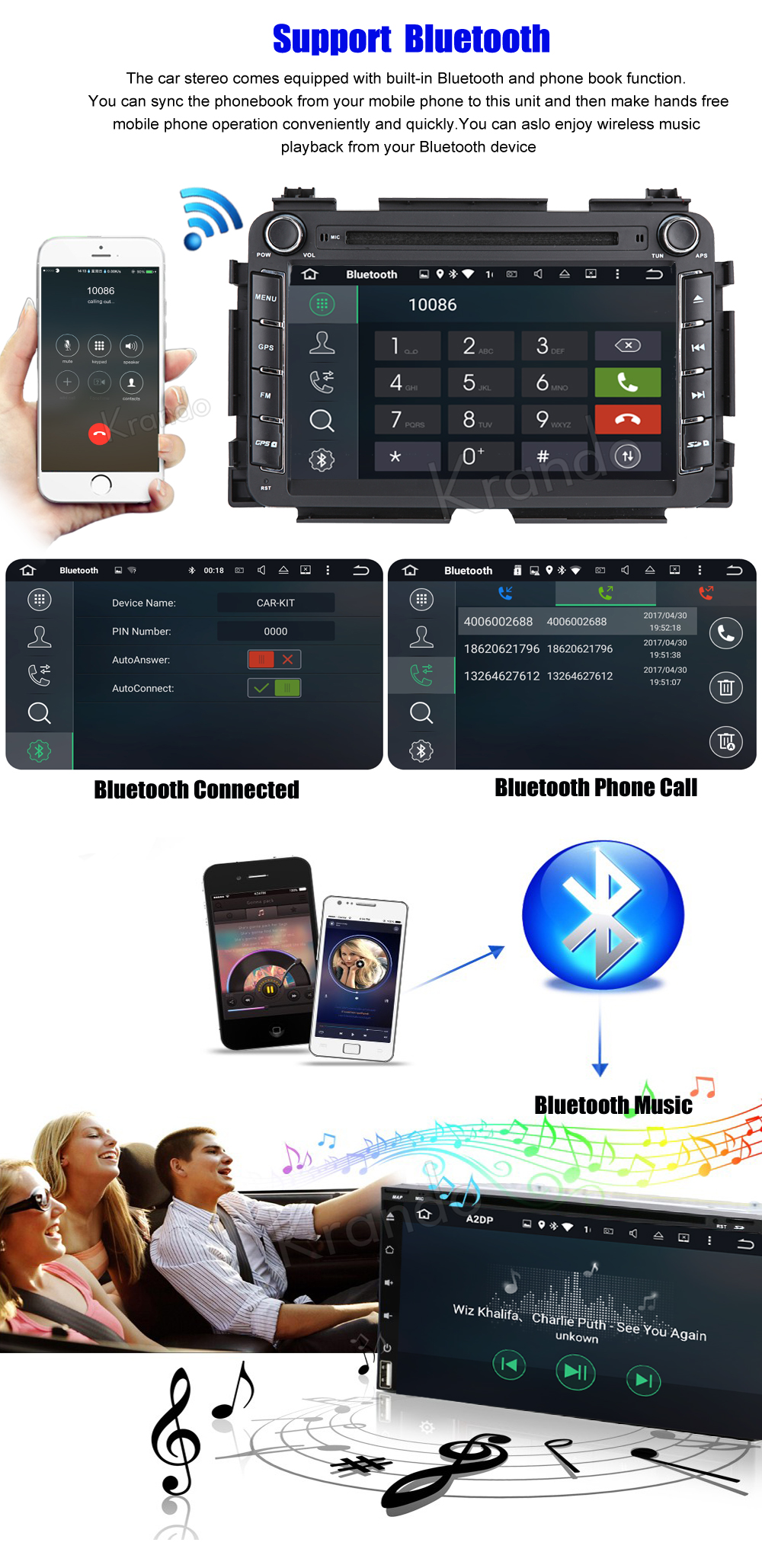 Krando honda vezel HR-V 2013+ android car radio gps navigation system multimedia player (3)