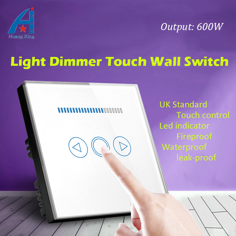 UK standard New 600W Dimmer light Switch, Crystal Glass Panel, electric switch With home Dimmer lamp switch, With Led indicator<br>