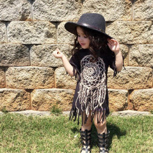 QZ-475 Girls dress 2017 summer dreamcatcher children's clothing personality loose-fitting style baby black wild fringed dress
