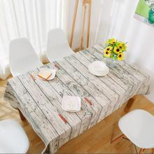 Retro Simulation Wood Striped Table Cloth Cotton Linen Fabric Grey Tableclothes Wedding Party Decoration Tables Cover