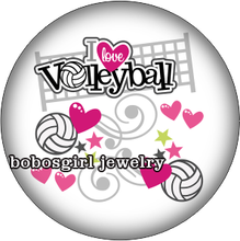 BG16824 Volleyball  glass  snap button for snap jewelry  Picture Pendant  33mm Coin for necklace