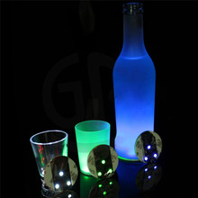 Fashion Colorful Mini 3 LED Bar Cup LED Flashing Lights Bottle Sticker Party Light Up Wine Mat For Wedding Party Beauty