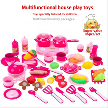 Lovely Too 46pcs Cooking Toys Cutting Fruit Seeds of Vegetable Food Kitchen Set Kids Play House Classic Tiny toy Gift For Girls