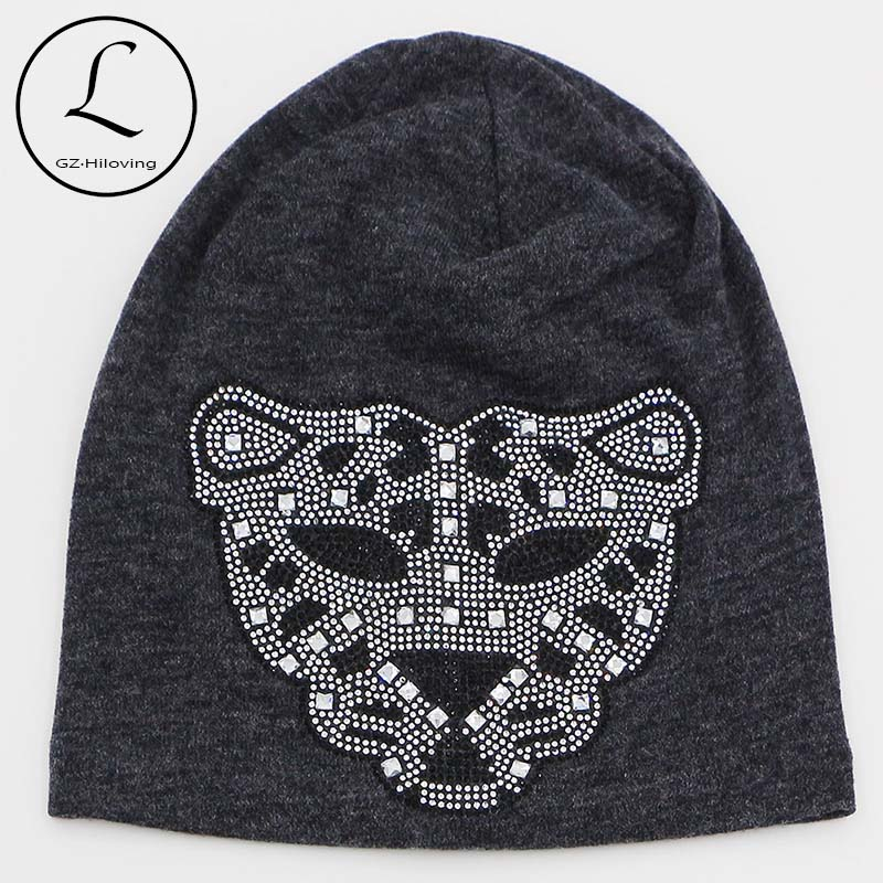 2016 New Rhinestone Oversized Beanie Hats For Women Girls Leopard Cotton Polyester Beanie Hats For Women Winter Knit Beanies HatОдежда и ак�е��уары<br><br><br>Aliexpress