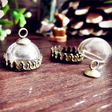 50sets/lot 15mm glass globe dome antique bronze crown base cap finding set glass vial pendant DIY glass pendant(China)