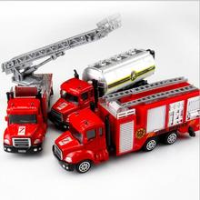 3131 2CFire fighting truck alloy car model 1:64 mobile machinery shop gift for kid 24cm(China)