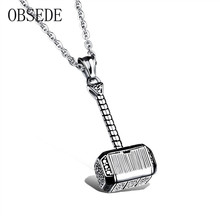 Buy OBSEDE Fashion Titanium Steel Necklace Charms Thor hammer Shape Captain America Necklace Men Jewelry Silver/Gold Color for $5.08 in AliExpress store