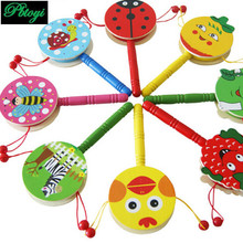 Wooden Rattle Tambourine Infant Educational Toys Train Children Perception PF0583