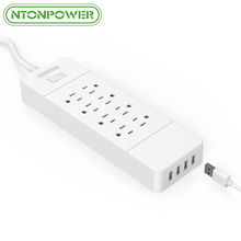NTONPOWER USP US Electrical Plug 8 AC Power Outlet USB Charger Station 4 Ports Fireproof and Surge Protection, 1.5M Power Cord