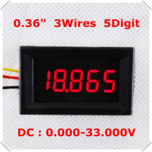"DC 0-33V 0.36"" Digital Voltmeter three Wires 5 Digit voltage Panel meter LED Display Color [ 4 pieces / lot](China)"