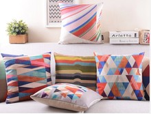 exotic Geometry colorful linen invisible stripe colorful pillowcase apple sofa cushion pillow 45*45cm(China)