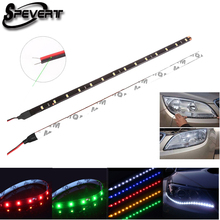 SPEVERT DIY 30cm 15 SMD 3528 LED Waterproof Flexible Car Motorbike Home Strip Lights 12V Cool White Red Green Blue Yellow(China)