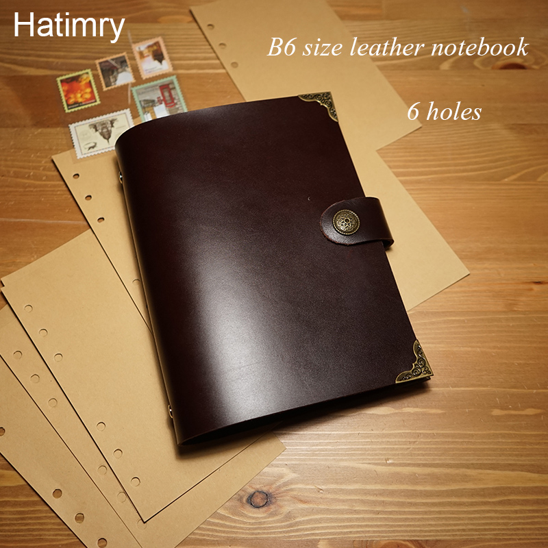 Hatimry Genuine leather jornal notebook  B6 size sparil button kraft paper sketch books brown color notebooks school supplies <br>