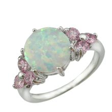 HAIMIS Drop Ship New Arrival White Fire Opal Pink Stone Fashion Jewelry Women Silver Plated Opal Rings Size 6 7 8 9 OR846