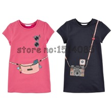 girls dress HOT New 2015 Kids girls clothes cute cartoon Dress, 2 colors of red and pink nice Clothes, lovely baby girls dress