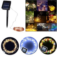 High Quality 10M 100leds Copper Wire Waterproof Solar Power String Fairy Light Xmas Wedding Party Decor Lamp