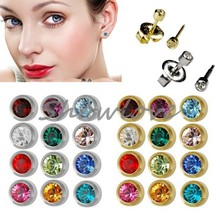 Showlove-24Pairs Studex Ear Piercing Studs Earrings, Surgical Steel Studs Piercing Mixed Gem Color, Silver and gold