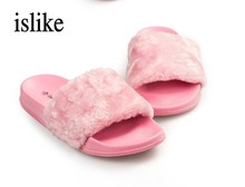 islike Fur Slides Flip Flops Sandals Brand Plush Warm Winter Home Slippers Casual Summer Comfortable Woman Flats Beach Shoes(China)
