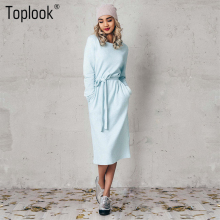 Toplook Light Blue Belt Women Dress Winter 2017 New Solid Long Sleeve Mid-Calf Straight Dresses O-Neck Casual Vestidos(China)