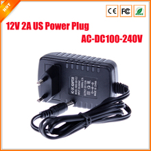 EU Type AC 100-240V to DC 12V 2A Power Supply CCTV Camera LED Strip AC/DC Adapters Power Plug Adaptor 5.5x2.1mm