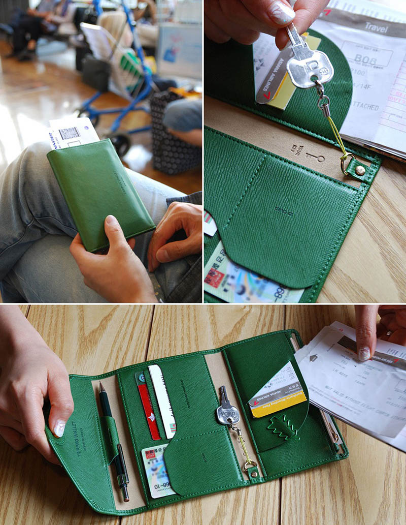 Reispaspoort Cover Opvouwbare Creditcardhouder Geld Portemonnee ID Multifunctionele Documenten Vlucht Bit Licentie Portemonnee Tas PC0045 (5)