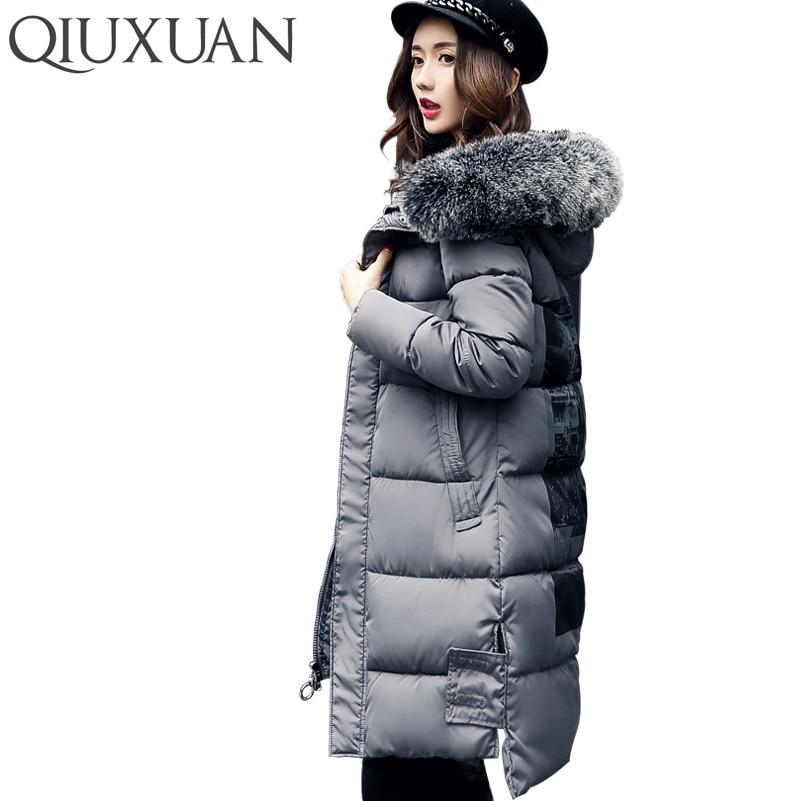 QIUXUAN Fashion Faux Fur Collar Coat Winter Women 2017 Warm Slim Padded Cotton Jacket Hooded Long Parkas Zipper Women Overcoat Îäåæäà è àêñåññóàðû<br><br>