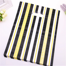 New Design Wholesale 100pcs/lot 25*35cm Large Plastic Shopping Bags With Gold Line Favor Jewelry Gift Box Packaging