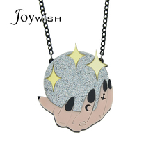 Joywish Black Color Chain With Yellow Silver Color Arcylic Ball Star Hand Shape Pendant Necklace Accessories Jewelry For Women