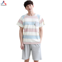 JCVANKER Man Pajamas Set Summer Colorful Pattern Men Male Cotton Sleepwear Shirt Domestic Indoor Home Clothing Pyjamas Suit