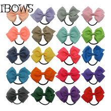 New Fashion Solid Ribbon Hair Bow With Elastic Band,Hamdmade Children Hairbows Accessories,Kid Girls Ponytail Holder Elastic Bow