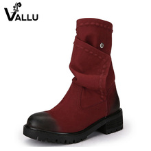 2016 Winter Genuine Leather Women Boots Round Toes Low Heels Handmade Color Button Mid Calf Vintage Women Boots Black Red