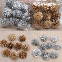 Hot 9PCS Christmas Gold Pine Cones Baubles Xmas Tree Decorations Ornament Gift