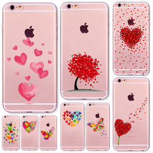 Case For iphone 6 6s 5 5s se 7 7Plus 4 4S Watercolor Butterfly Pink Love Heart Transparent Silicon Protective Cell Phone Cover